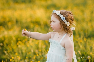 toddler standing in a field of buttercups holding out a flower