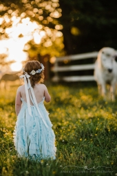 toddler in a farm in Richmond, VA facing away from the camera in a field of buttercups while staring at a white unicorn