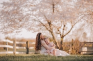mother holding daughter in a pasture in front of a cherry blossom tree
