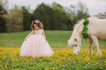 little girl in a ballgown with a unicorn in a field of flowers