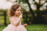little girl blowing a dandelion