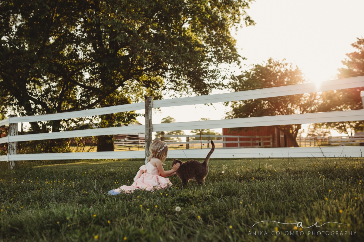 little girl in a pasture with a white fence behind her crouched down petting a cat