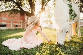 little girl sitting in a field under a tree petting a unicorn
