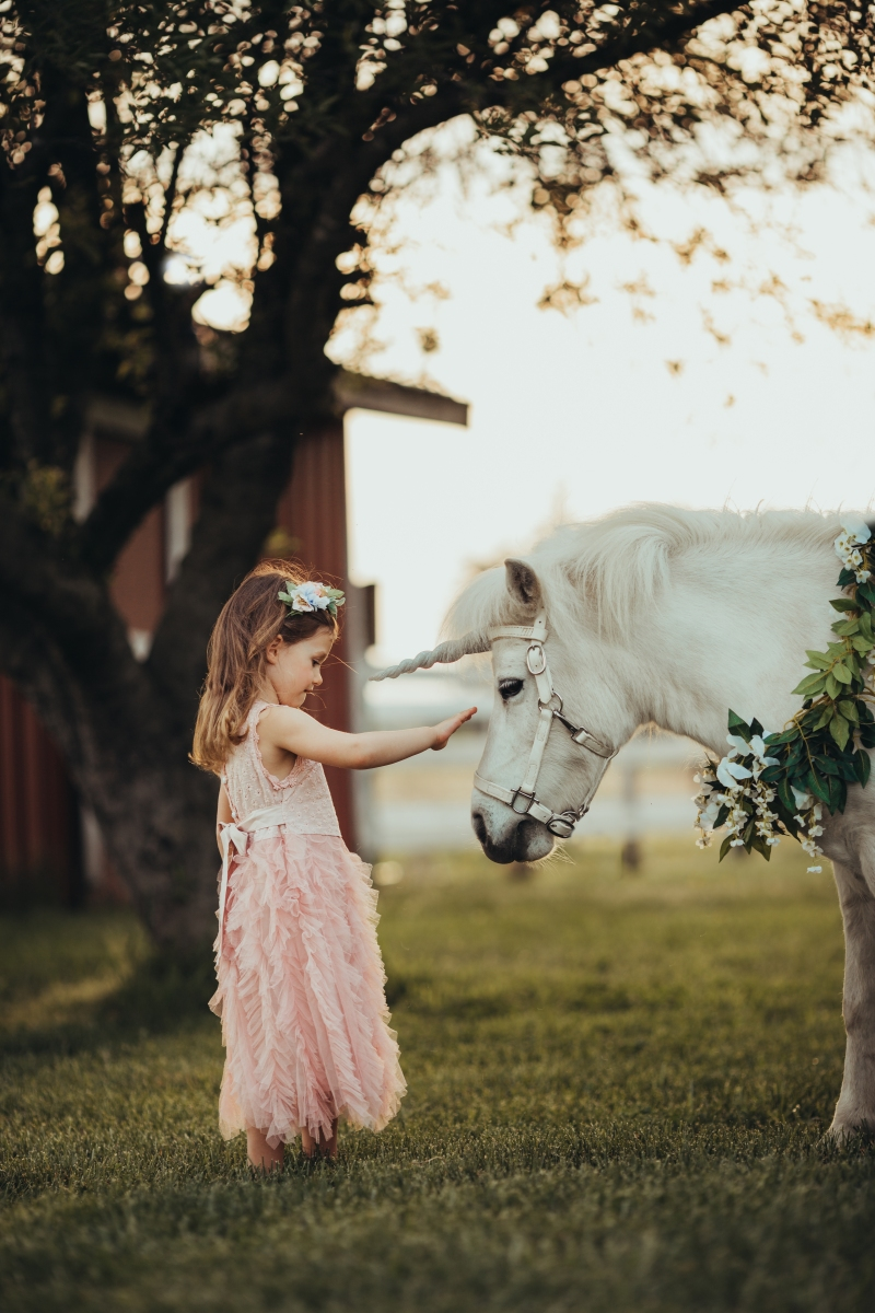 little girl in a pink dress petting a unicorn under a tree