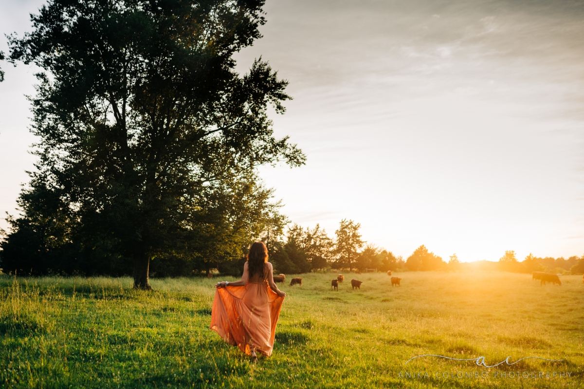 woman walking in a field with cows at sunset